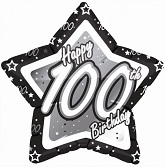 "18"" Happy 100th Birthday Black Star"