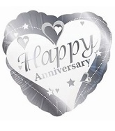 18&#39&#39 Happy Anniversary Heart Silver