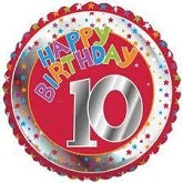 18&#39&#39 Happy Birthday 10th Red/Silver