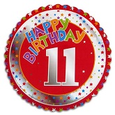 "18"" Happy 11 Birthday Red"
