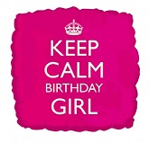 "18"" Keep Calm Birthday Girl Pink"