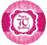 "18"" Happy 70th Birthday Pink"