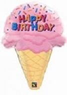 "27"" Happy Birthday Ice Cream Cone"