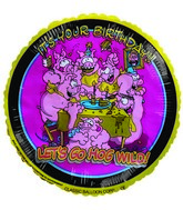 "9""  Airfill It&#39s your Birthday Pigs yellow Balloon"