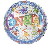 "18"" Congrats Stars And Streamers Mylar Balloon"