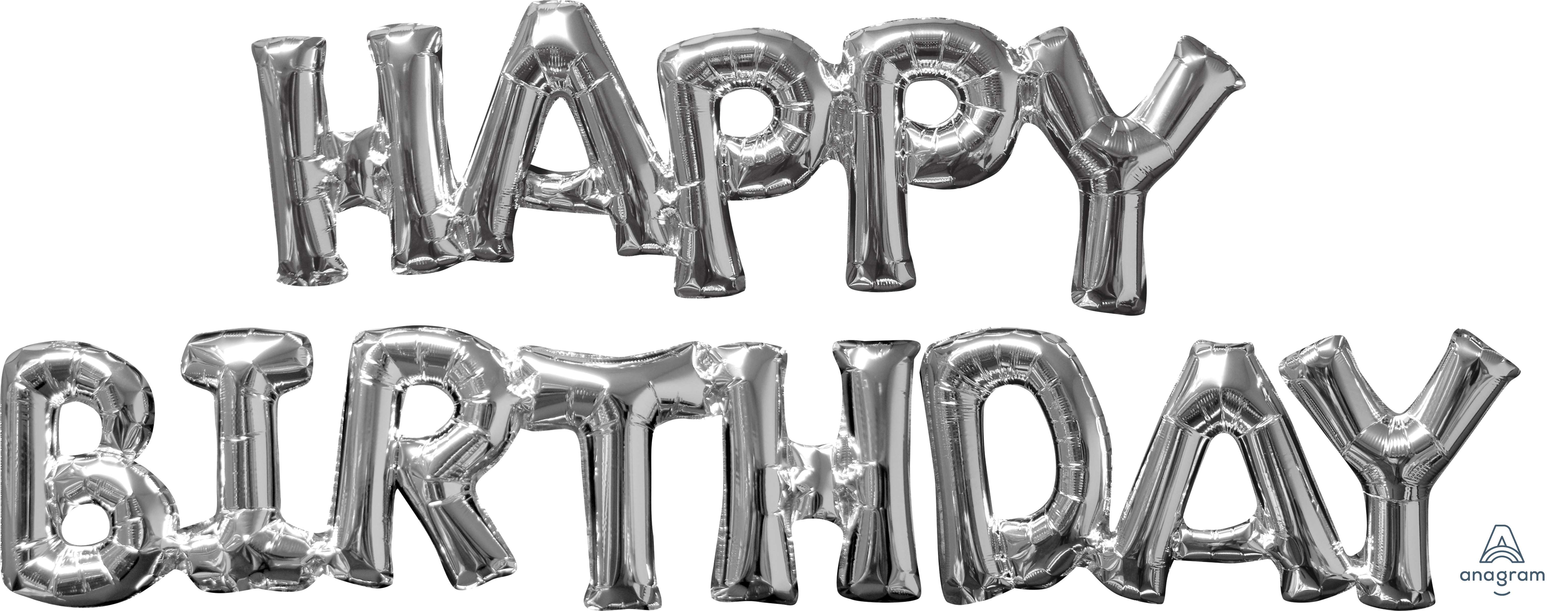 "Airfill Phrase ""HAPPY BIRTHDAY"" Silver Balloon"