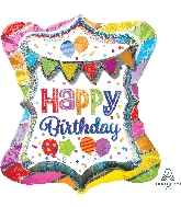 "27"" Multi Balloon Happy Birthday Bright Party Bunting"