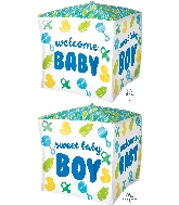 "15"" Cubez Baby Boy Chevron & Icons Balloon"