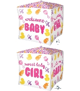 "15"" Cubez Baby Girl Chevron & Icons Balloon"