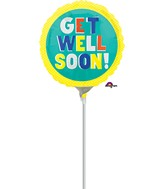 "4"" Airfill Only Get Well Happy Type Balloon"