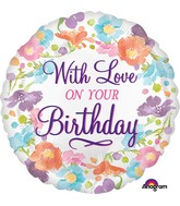 "18"" With Love on Your Birthday Balloon"