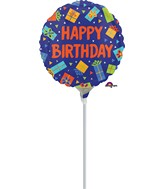 "4"" Airfill Only Colorful Birthday Presents Balloon"