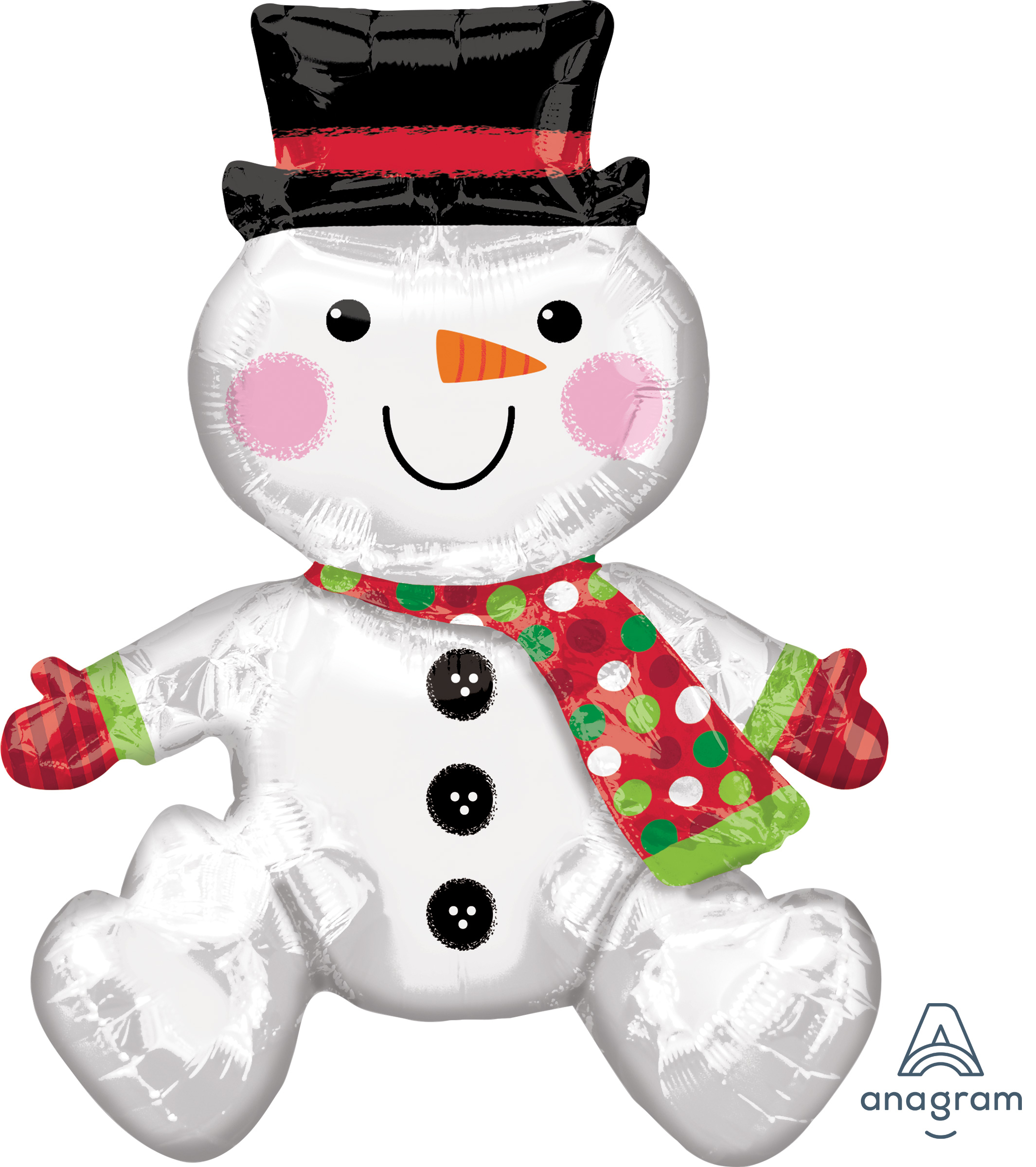 Airfill Only Sitting Snowman Balloon