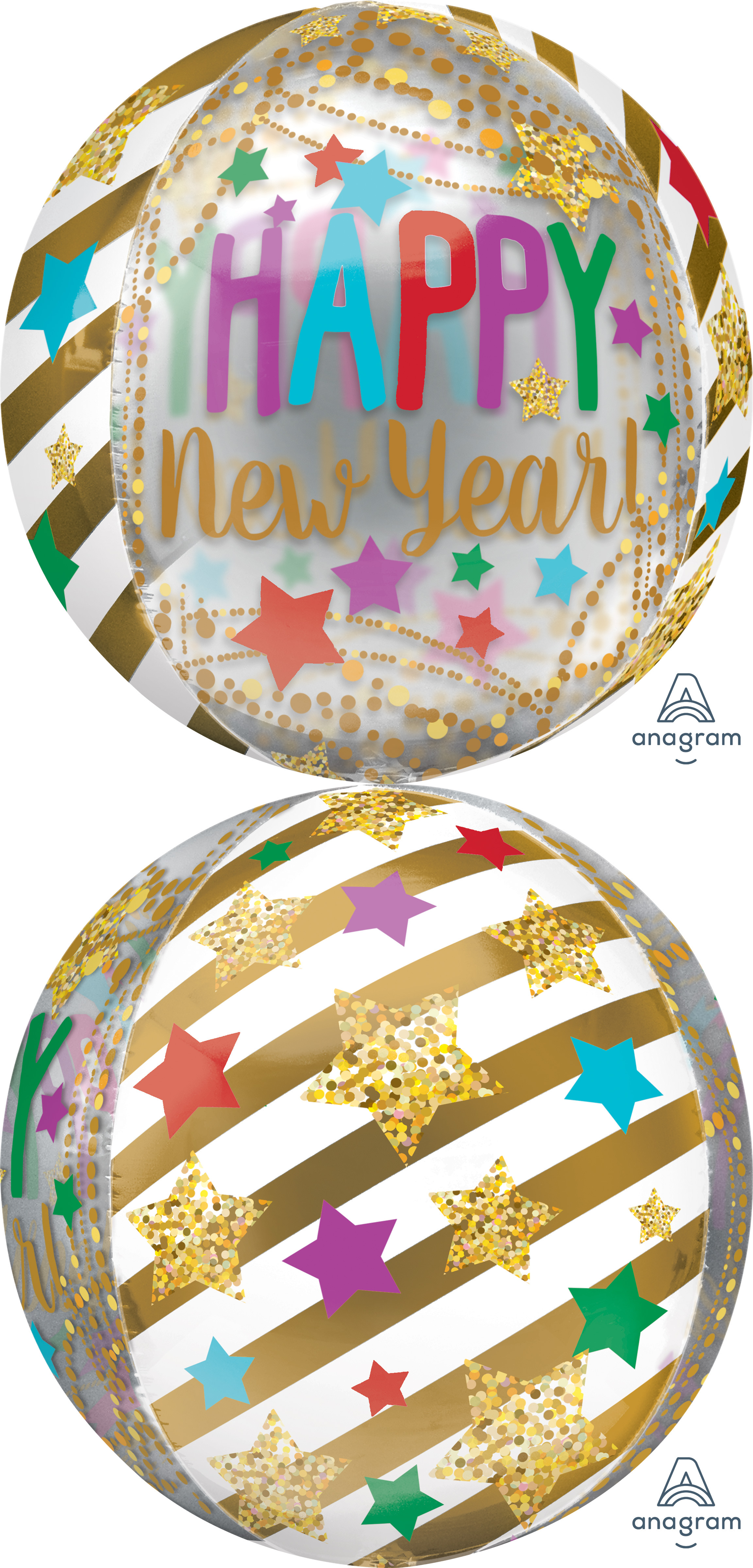 "16"" Orbz Happy New Years Gold Streamers & Stars"