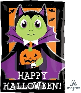 "17"" Junior Shape Xl® Dracula & Pumpkin Balloon"