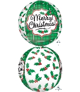 "16"" Orbz Merry Christmas Holly Balloon"