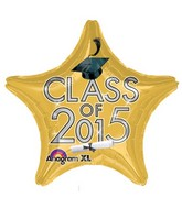 "18"" Class of 2015 Graduation Balloon Gold"