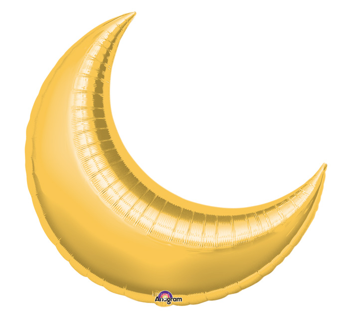 "35"" Gold Crescent Moon Balloon"