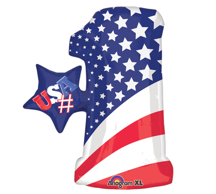 "28"" Jumbo Number Patriotic Balloon"