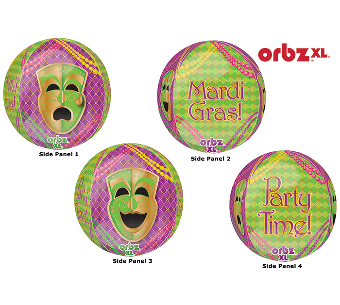 "16"" Orbz Mardi Gras Party Balloon Packaged"