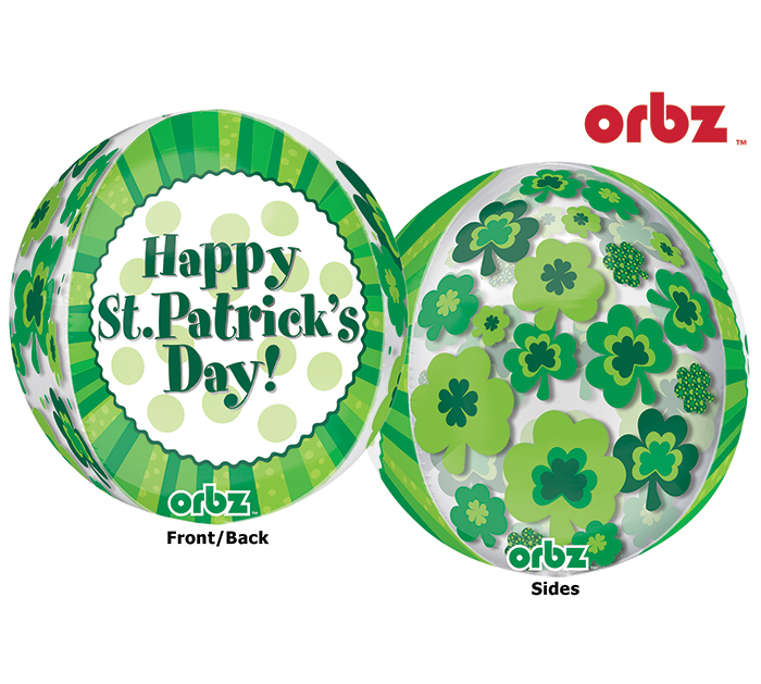"16"" Orbz Multi-Film Happy St. Patrick's Day Balloon Packaged"