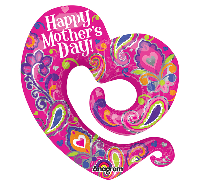 "31"" Happy Mother&#39s Day Swirly Open Heart Balloon Packaged"