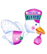 "32"" Bundle of Joy Stork - It's A Girl Multi-Balloon"