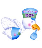 "32"" Bundle of Joy Stork - It's A Boy Multi-Balloon"