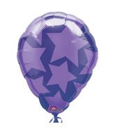 "18"" Perfect Balloon Purple Stars Balloon"