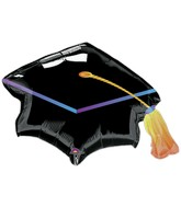 Airfill Only Mini Shape Black Graduation Cap Balloon