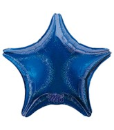 "18"" Holographic Star Blue Dazzler Star Balloon"