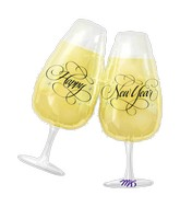 "30"" SuperShape New Years Toasting Glasses Balloon"