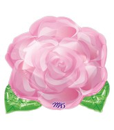 Junior Shape Pink Blooming Rose Balloon Packaged