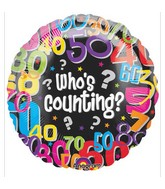 "18"" Who&#39s Counting Mylar Balloons"