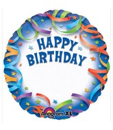 "18"" Happy Birthday Streamers Personalized Mylar Balloons"