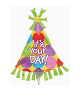 Airfill Only Mini Shape It&#39s Your Day Party Hat Balloon