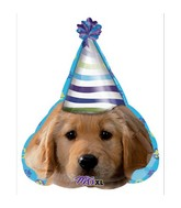 "18"" Party Pups Party Face Mylar Balloon"