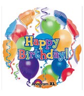 "18"" Balloons n Stars Happy Birthday Mylar Balloons"