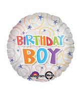 "18"" Birthday Boy Swirls Balloon Packaged"