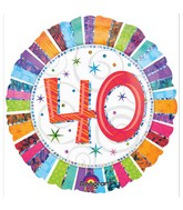 "18"" Holographic Radiant Birthday 40 Balloon Packaged"