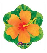"18"" Orange Hibiscus Shape Balloon"