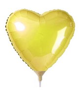"9"" Airfill Only Heart Gold Heart Balloon"
