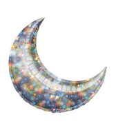 "26"" Holographic Silver Fireworks Crescent Moon Balloon"