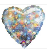 "32"" Large Balloon Holo Fireworks Heart"