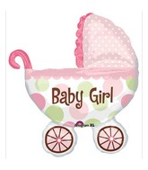 "31"" Baby Buggy Girl Mylar Balloon"