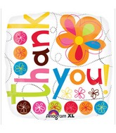"18"" Thank You Colorful Flowers Balloon Packaged"