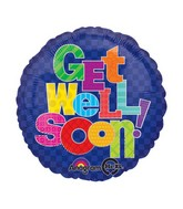 "18"" Multi-Pattern Get Well Mylar Balloon"