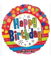 "18"" Bright Happy Birthday Mylar Balloon"