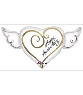 "33"" Happy Anniversary Heart with Wings"