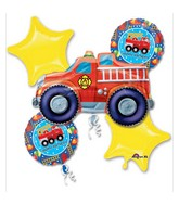 Bouquet Fire Engine Fun Birthday Balloon Packaged